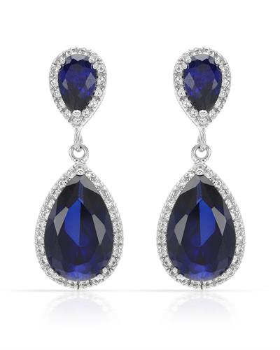 MAGNOLIA 12.91ctw Sapphires and Topazes White Gold Earrings