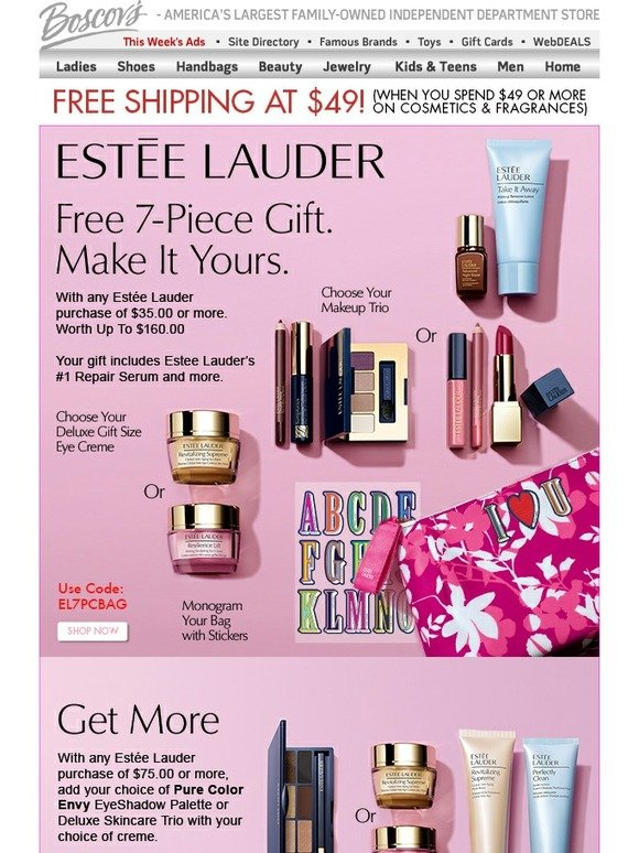 Boscov's: Estée Lauder Gift with Purchase and Free Shipping Offers - Just for You | Milled