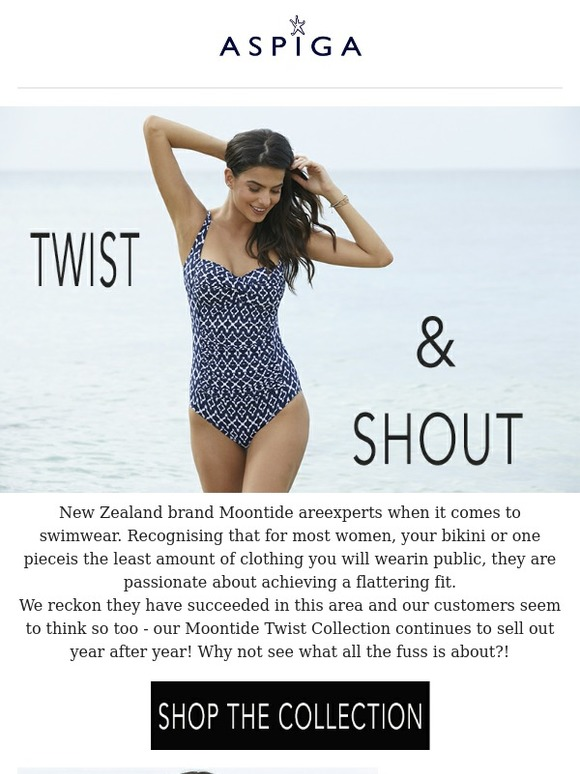 1a8ab6c404 Aspiga : Twist & Shout! Meet the worlds most flattering swimsuit.... |  Milled