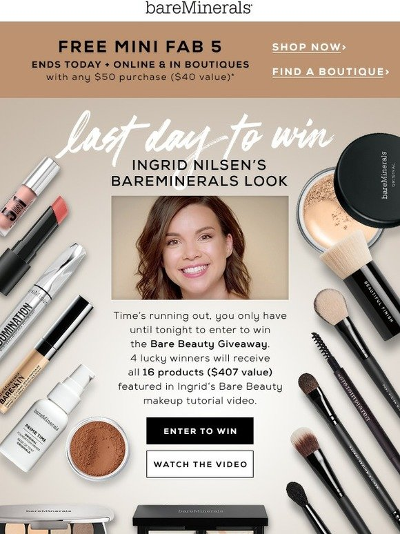 bareMinerals: Last chance to win this Bare Beauty look | Milled