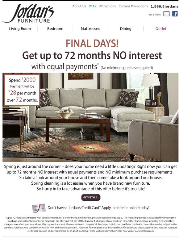 jordan's furniture: final days! get up to 72 months no interest with