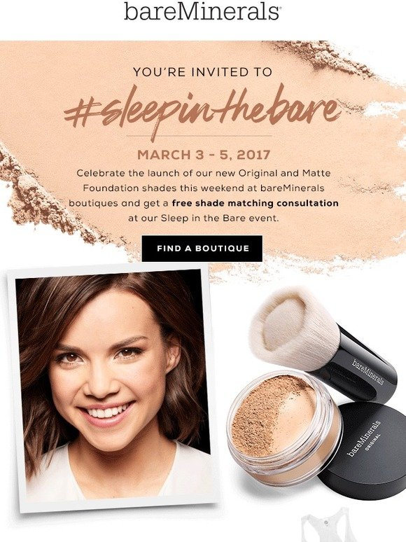 bareMinerals: Stop by our stores for a special event + receive a free shirt | Milled