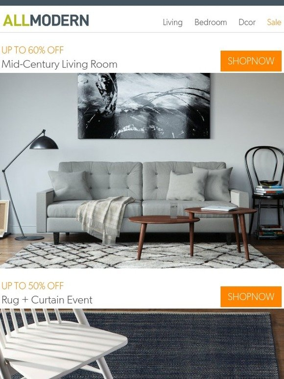 Living Room 50 Off wayfair: mid-century living room markdowns | up to 50% off rugs +
