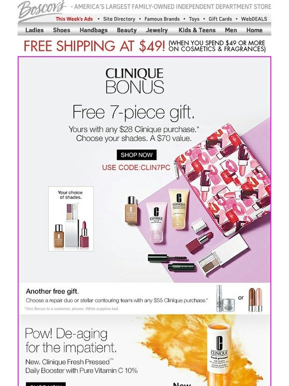 Boscov's: Clinique Special Bonus Offer | Just for You | Milled