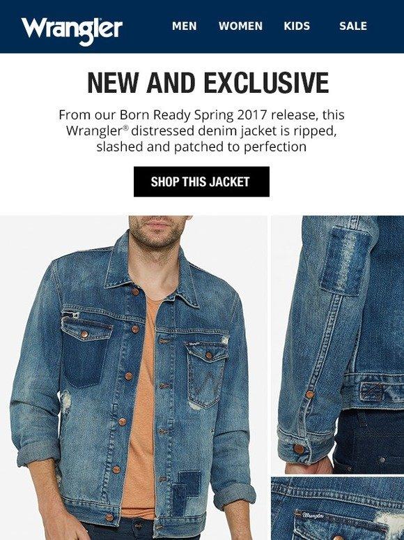 f79a5956a3d Wrangler  Limited Release  distressed denim jacket