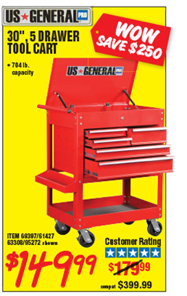 Drawer Glossy Red Tool Cart