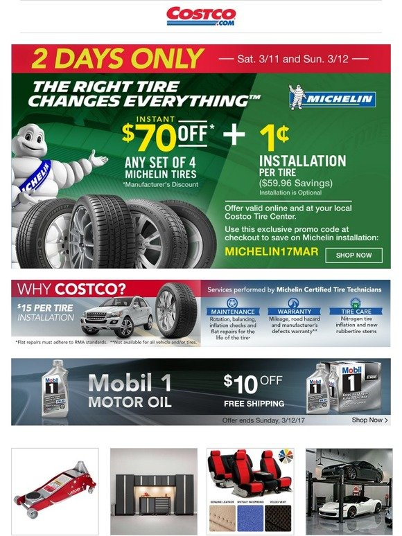 Costo 2 Days Only 70 Off Any Set Of 4 Michelin Brand Tires Plus