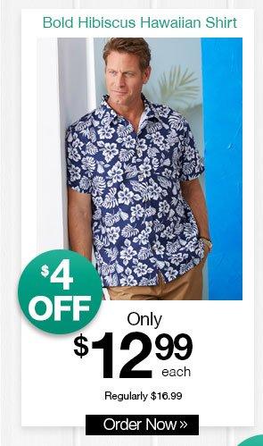 Shop Men's Bold Hibiscus Hawaiian Shirt