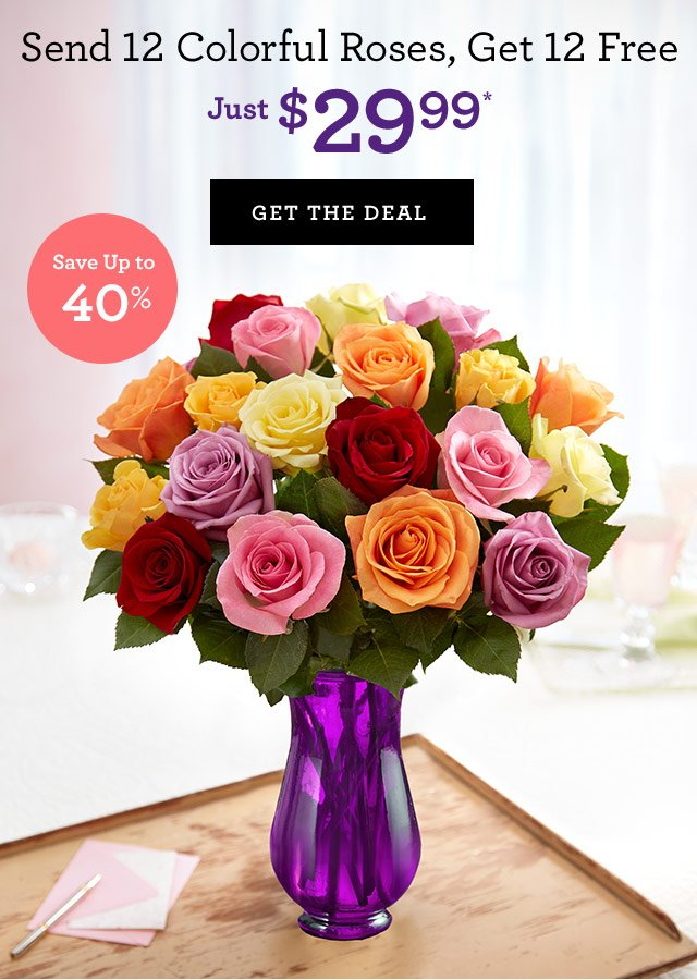 1-800-flowers: Send 24 Colorful Roses for Just $29.99! | Milled