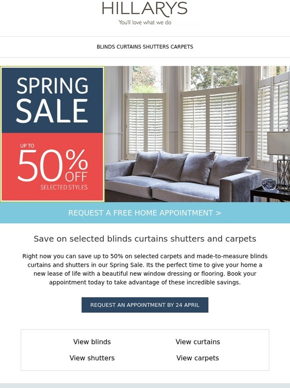 Hillarys Blinds Online >> Hillarys Blinds The Spring Sale Is On Save Up To 50 Milled