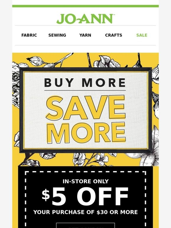 Jo ann fabric and craft store cha ching 3 awesome in for Jo ann fabric and craft coupons