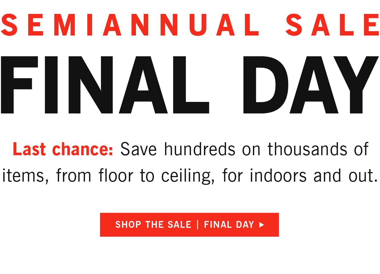 Final Day Semiannual Sale