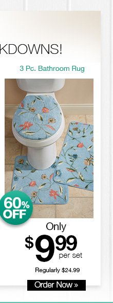 Shop 3-Pc. Bathroom Rug Set Lid, Contour, & Mat!