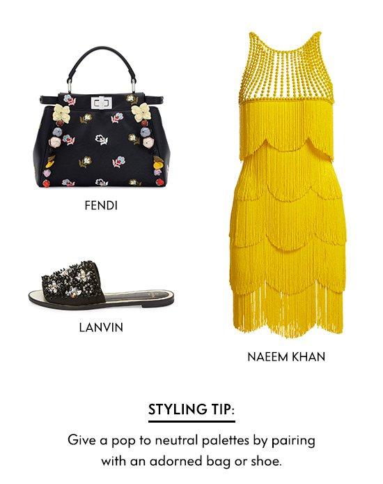 Embellished dresses, shoes, bags
