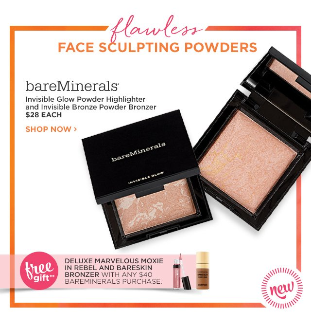 BAREMINERALS | NEW! Invisible Glow Powder Highlighter and Invisible Powder Bronzer $28 EACH, plus Free Gift**