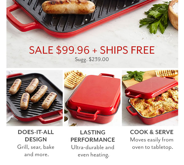 Rectangular Baker with Grill Pan Lid - Sale 58% OFF
