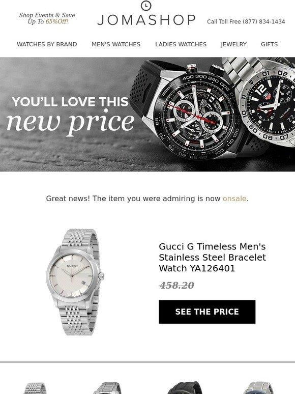 0c672ff4d44 JOMASHOP  Price Drop Alert  Gucci G Timeless Men s Stainless Steel Bracelet  Watch YA126401
