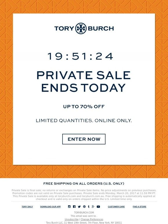 Tory burch private sale ends tonight up to 70 off milled for 11 west 19th street 7th floor new york ny 10011