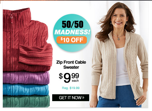 Shop Women's Zip-Front Cable Sweater