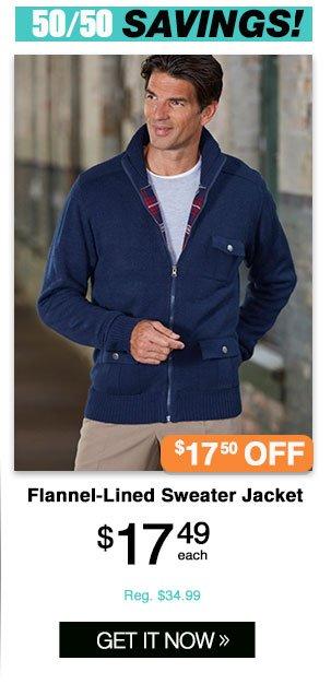 Shop Men's Jack Frost Flannel-lined Sweater Jacket