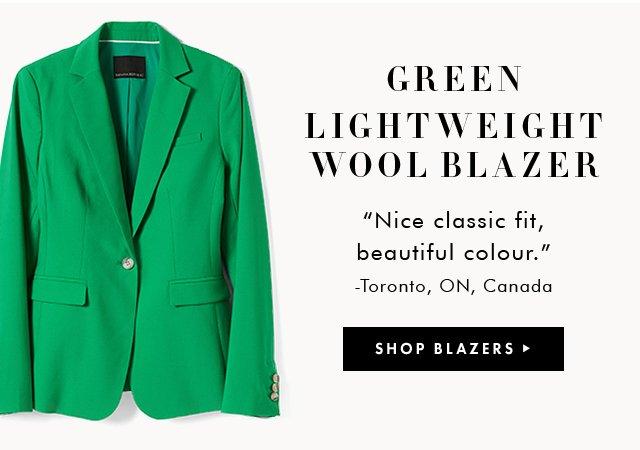 GREEN LIGHTWEIGHT WOOL BLAZER | SHOP BLAZERS