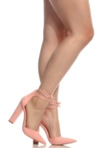 15cbf73e82b Pink Faux Suede Chunky Pointed Toe Heels