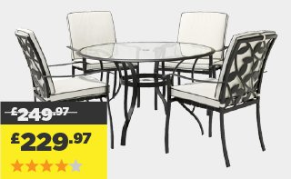 Garden Furniture 4 Seater homebase: free delivery on a selected range of amazing value