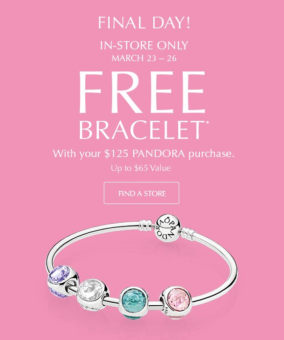 Pandora Final Day Free Bracelet With 125 Purchase Milled