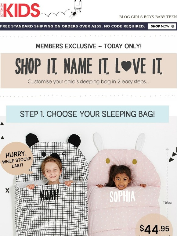 Cotton On Kids PERSONALISED Sleeping Bags Yes Please