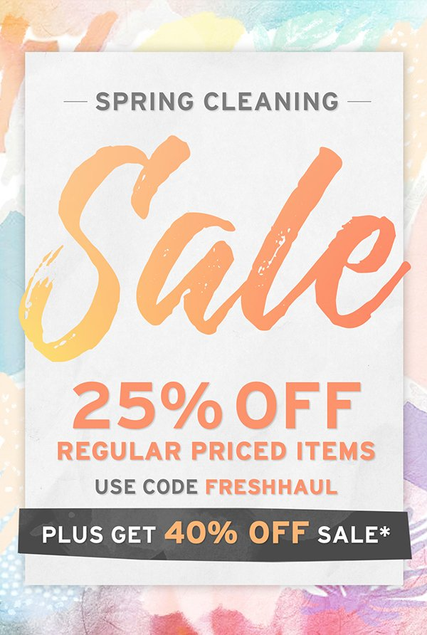Use code FRESHHAUL and take 25% off all full priced items + 40% off sale items!