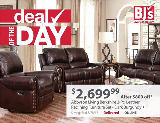 Living Room Sets Bjs bjs wholesale club: get $800 off a reclining leather furniture set