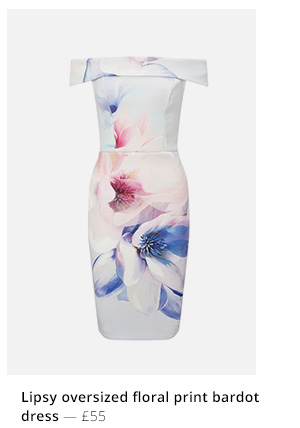 Lipsy oversized floral print bardot dress