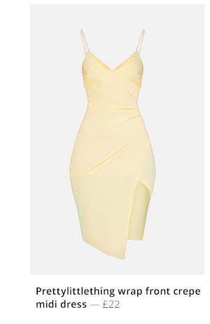 Prettylittlething wrap front crepe midi dress