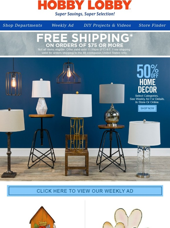 Hobby Lobby 50 Off Lamps More