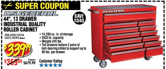 **COUPON** Harbor Freight US General 56'' 11 Drawer Roller Cabinet