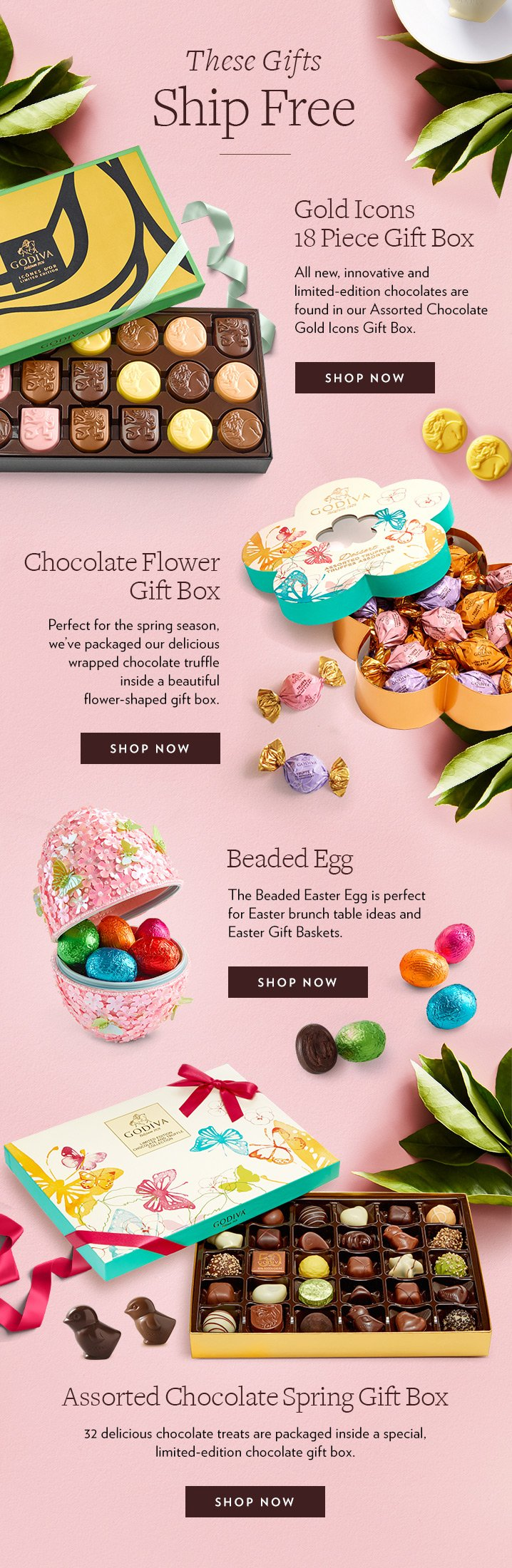 Godiva last day free shipping on easter gifts gift just for free standard shipping on gold icon 18 pc and select easter gifts negle Images