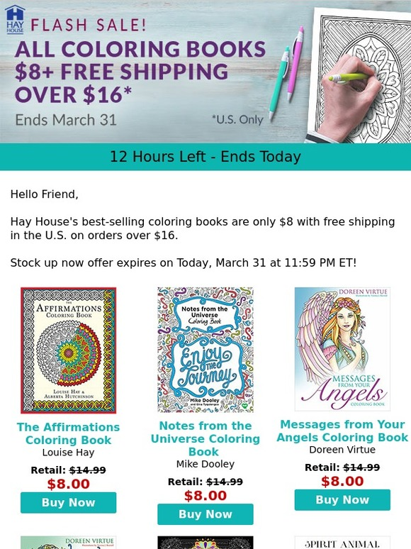 Hay House Inc Last Chance 8 Coloring Books Plus Free