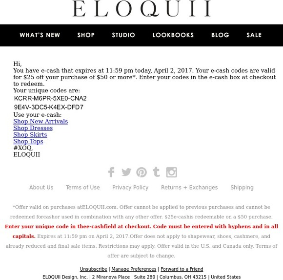 eloquii by The Limited: Your $25 e-cash codes | Milled
