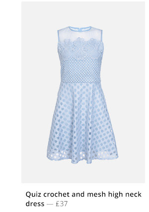 Quiz crochet and mesh high neck dress