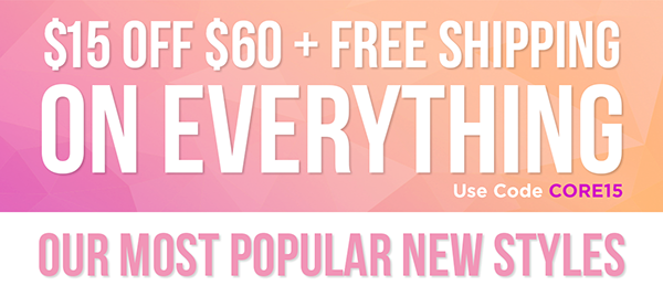Get $15 off your purchase of $60+ plus free shipping through 4/7. Use Code CORE15.