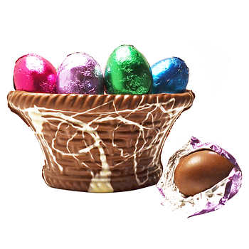 Costo dress them up decorate with spring blooms serve sweet dilettante chocolates chocolate basket with milk chocolate easter eggs 35 lbs 12 count negle Images