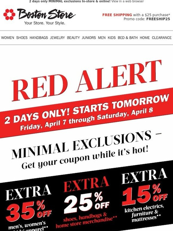 Bostonstore Com Red Alert 35 Off Coupon Starts Tomorrow