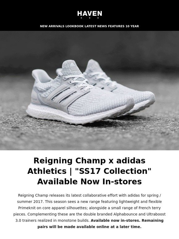 9fa7b4853 Haven  Reigning Champ x adidas Ultraboost 3.0 Release Info