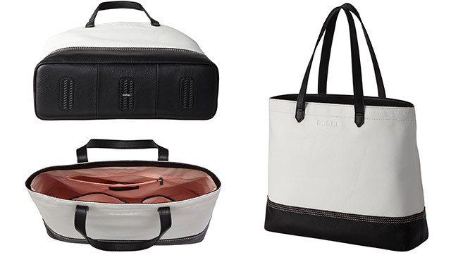 Exterior and interior shots of a black and white bag.