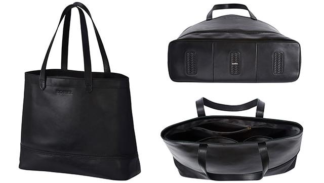 Exterior and interior shots of a black handbag.