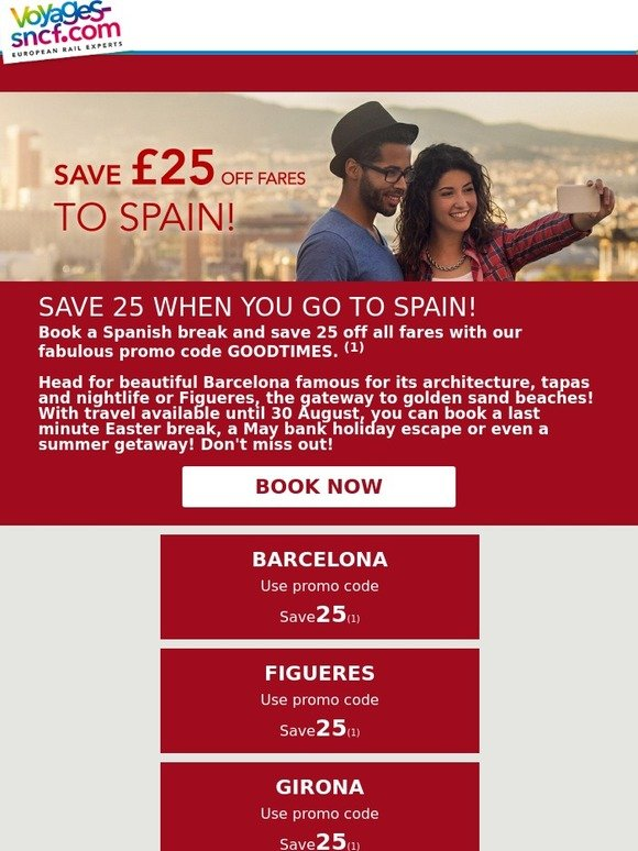 voyages sncf 25 off all fares to spain book now milled. Black Bedroom Furniture Sets. Home Design Ideas