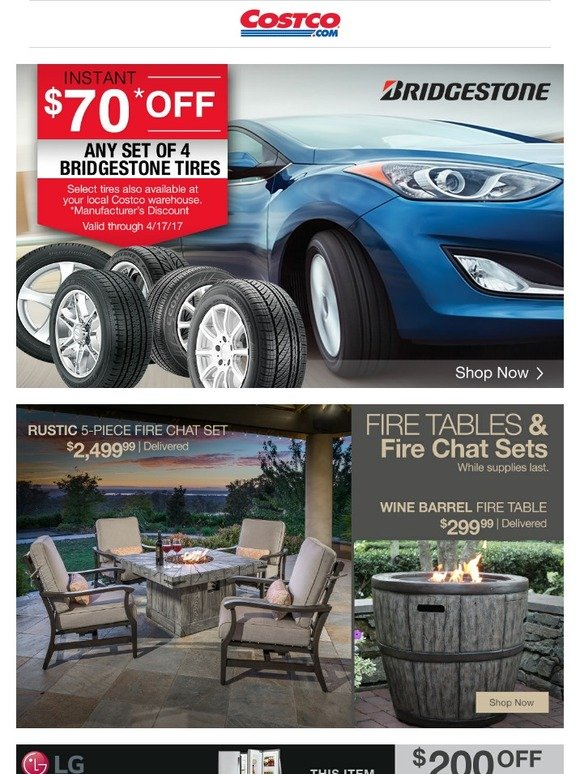 Costo: Save on Bridgestone Tires, Fire Tables and Chat Sets, Samsung