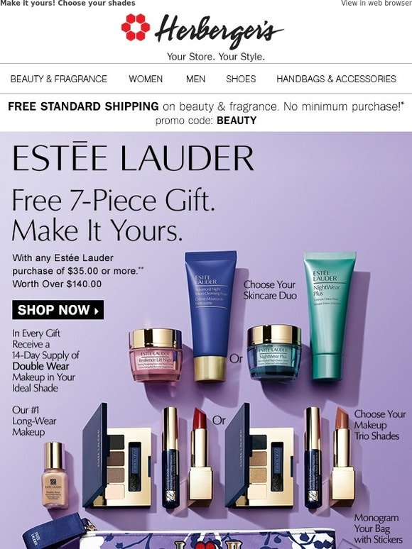 Herbergers: Estée Lauder 7-piece gift • Yours FREE** with a $35+ purchase | Milled