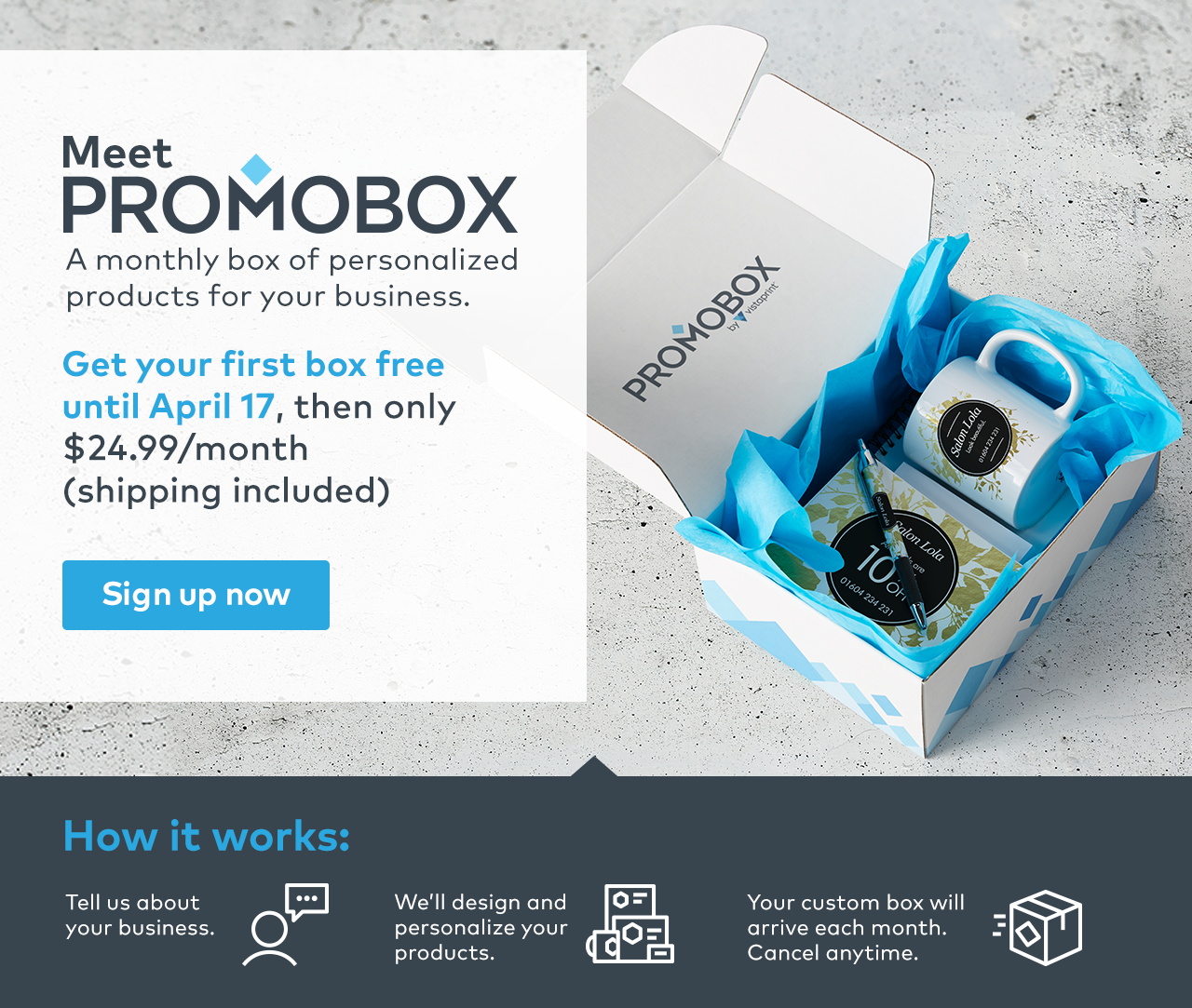 Vistaprint: Meet Promobox | Get your first box free | Milled