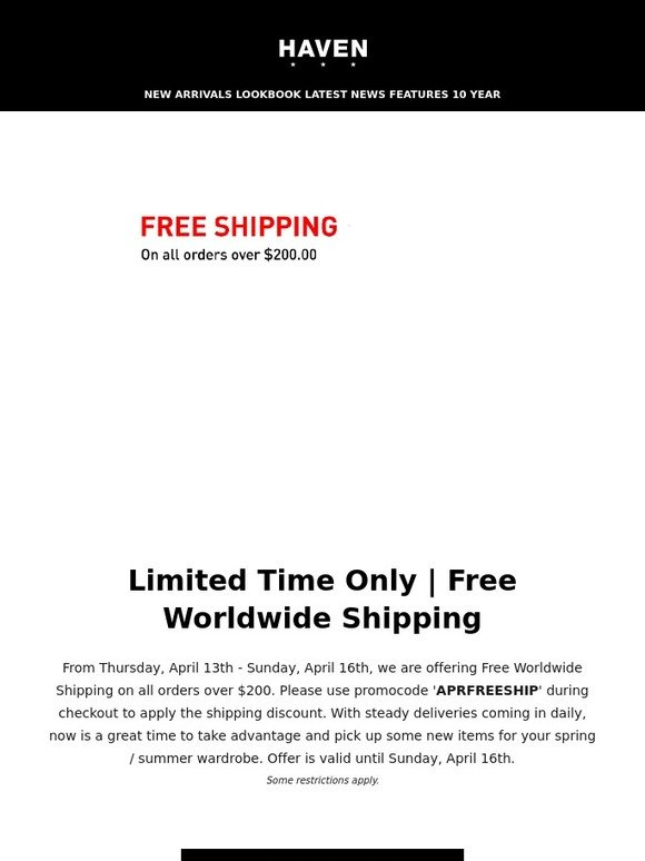 e977d070d6d Haven: Free Worldwide Shipping on orders over $200 | Use Code